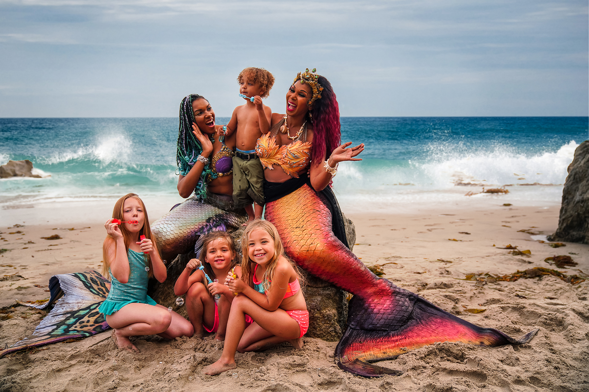 Mermaid Quintessence (left) with  Mermaid Pearl  (right) for a special beach meet and greet (c) John Paulsen