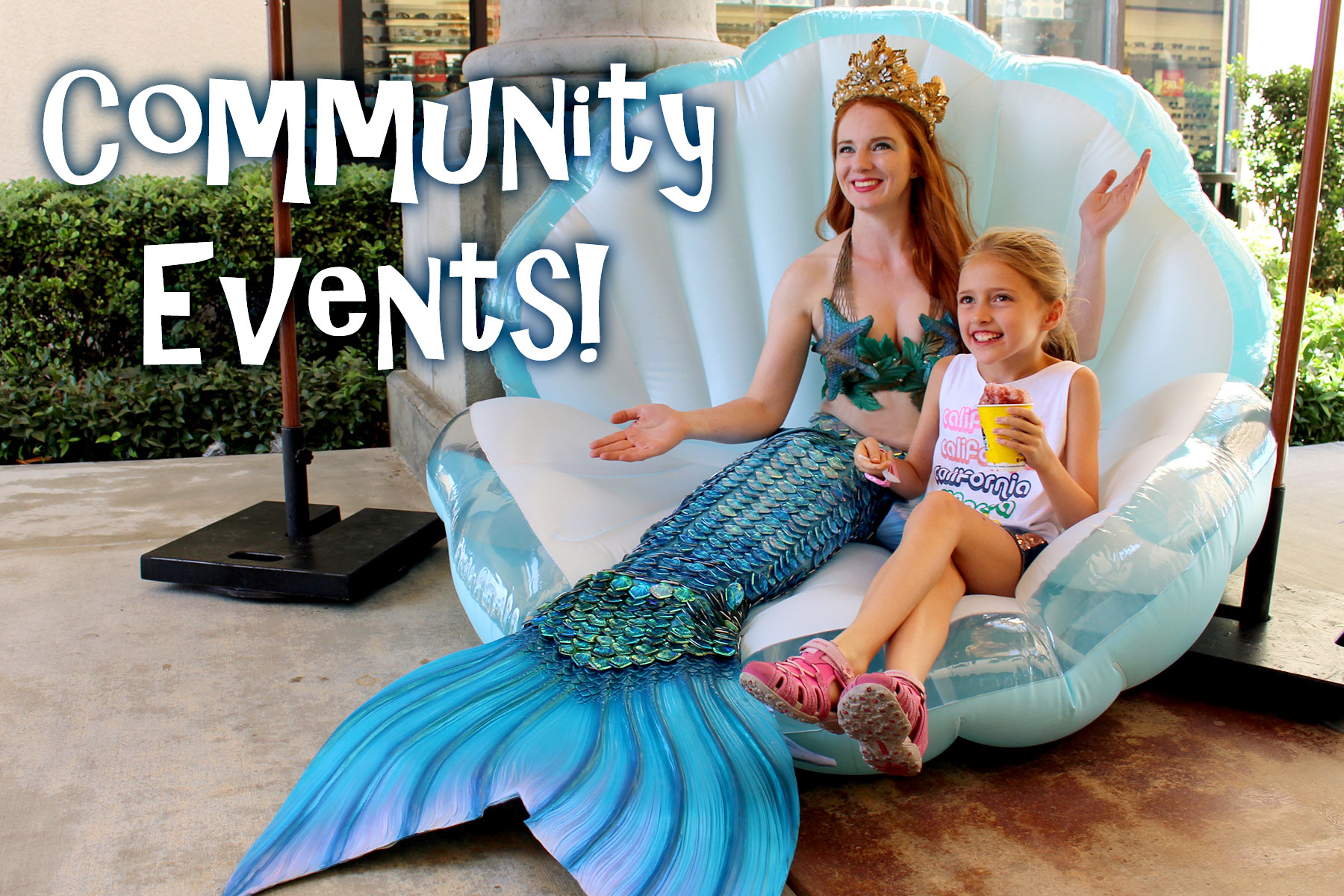 Catalina Mermaid  in a sequin-style tail with optional shell rental posing fora fin-credible community event!