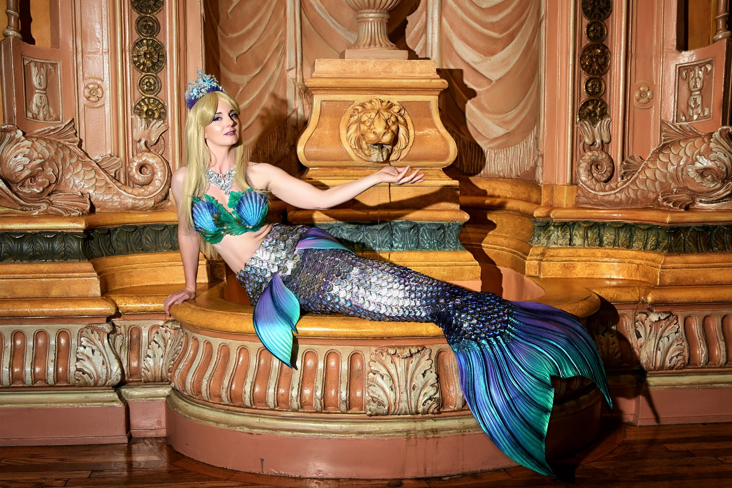 Catalina Mermaid wearing a luxury line sequin-style mermaid tail, Photo by Abe Lojero
