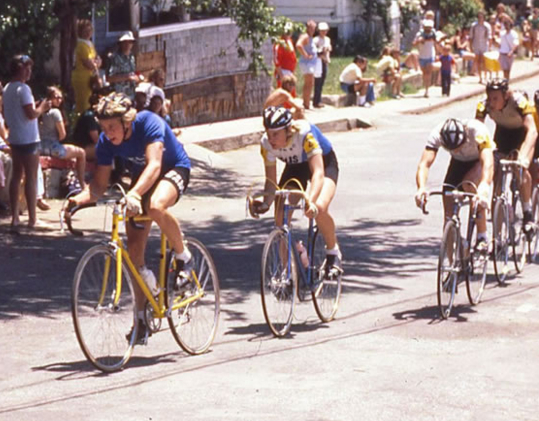 "A young Greg LeMond leading the field in the 1977 Nevada City Classic Bicycle Race on the prized Cinelli. Greg would later win the race from 1979-81 becoming the second youngest rider to win the seniors race and was dubbed the ""Reno Rocket."""