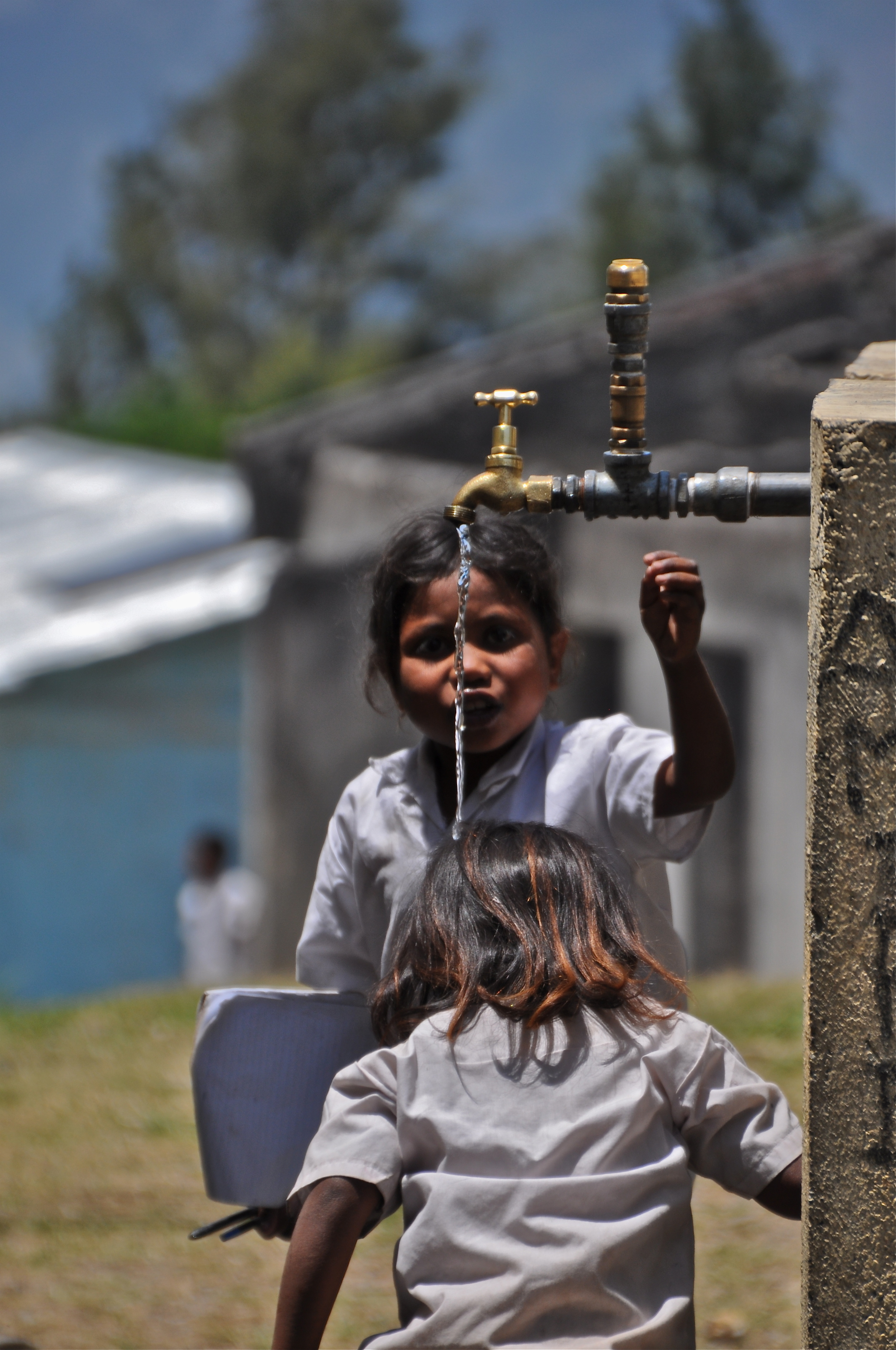 This tap was the only water supply for the entire school. On a good day it ran at a trickle leaving the school without drinking water, toilets or hand washing facilities