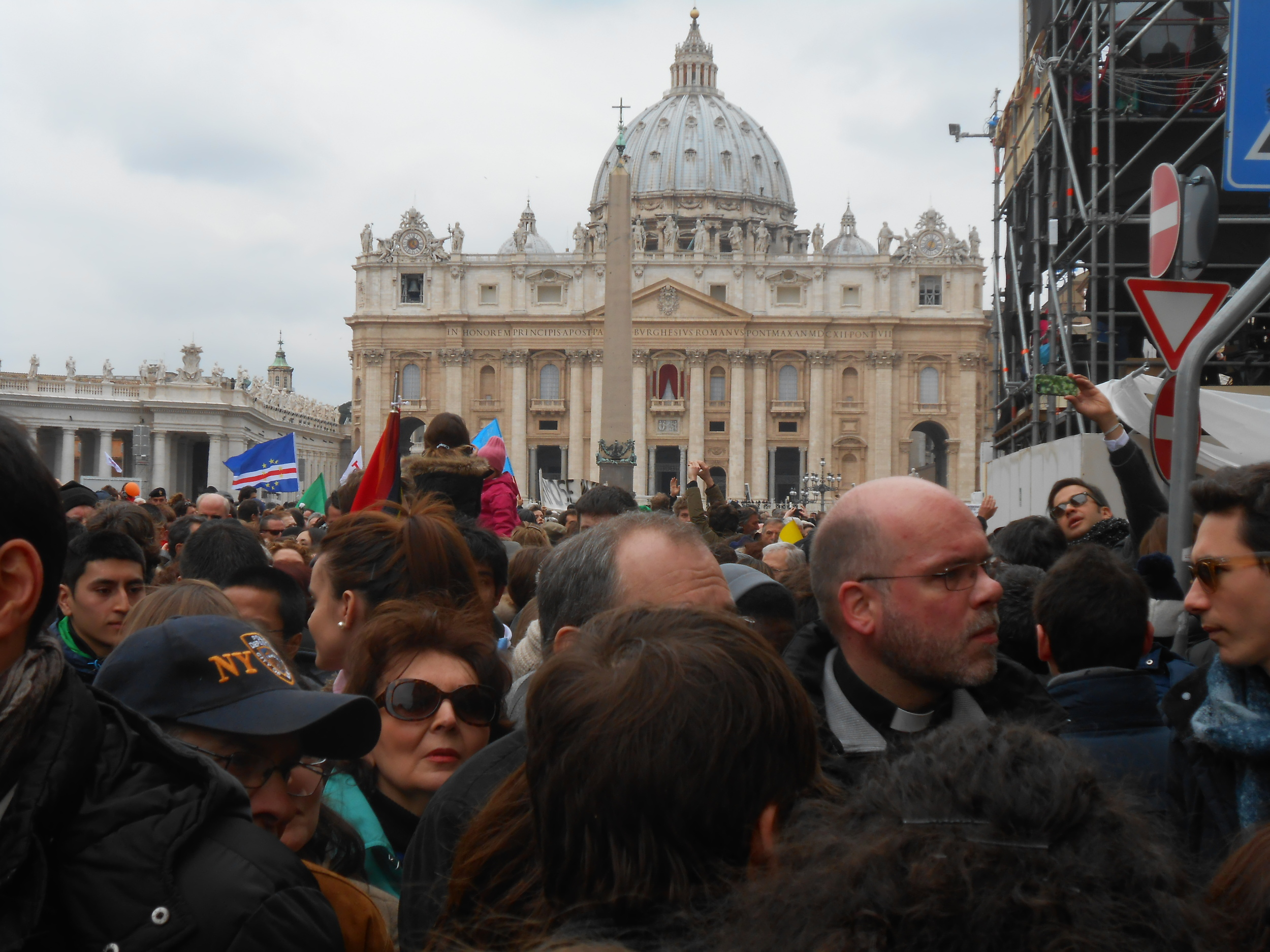 Outside the Vatican after Pope Francis's first public blessing.