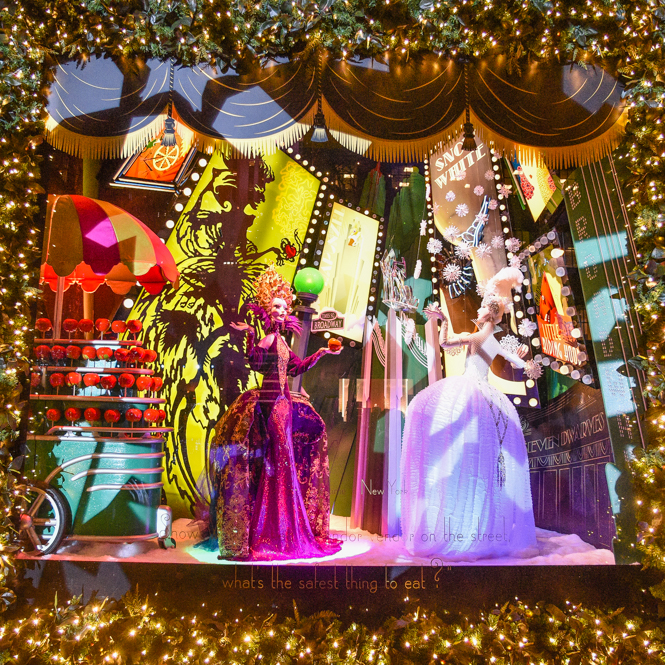 "Sake's 5th Avenue's 2014 window theme is an Enchanted Experience. This window features an interpretation of the classic ""Snow White"" fairy tale."