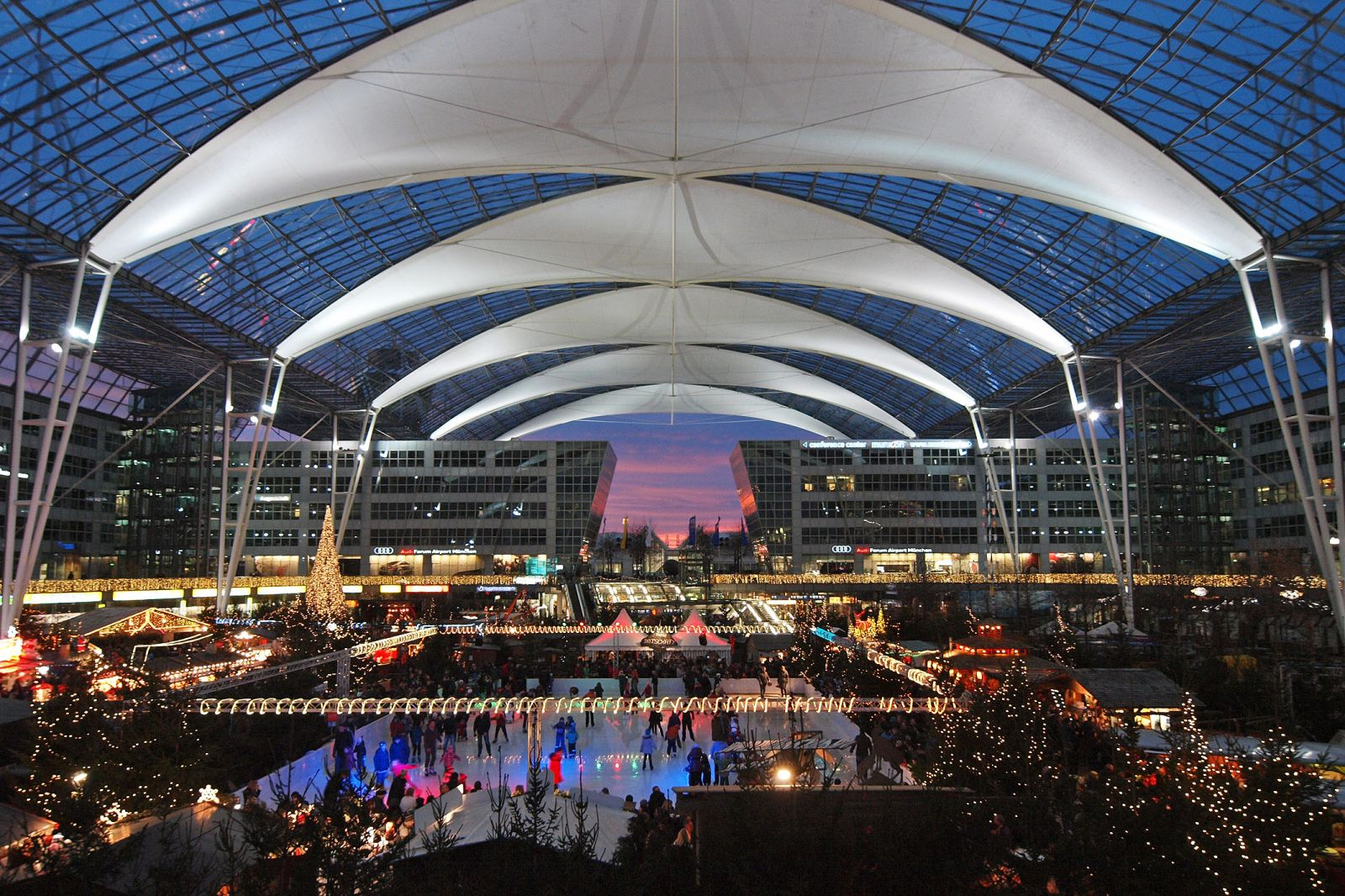 The Munich winter market features an indoor ice skating rink.