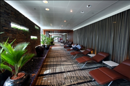 Catch a few zzz's in these complimentary leather snooze chairs found throughout the airport.