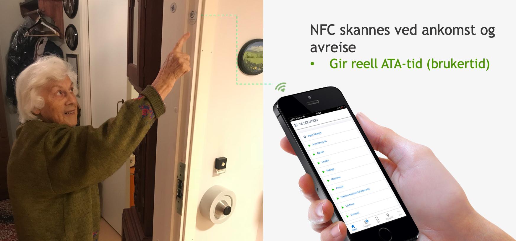 Fest NFC brikken i dørkarmen hos brukerne. Her er den usynlig og det er enkelt for den ansatte å se den. Registreringen starter når man skanner brikken og stopper når man skanner seg ut. På denne måten får man lik registrering for alle og tallene blir reelle.  Det er ikke mulig å registrere feil ved at man legger inn tall manuelt eller starter og stopper som man selv vil.