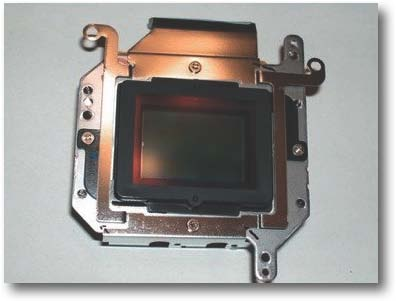 The sensor assembly of the Rebel XT with its original hot mirror.