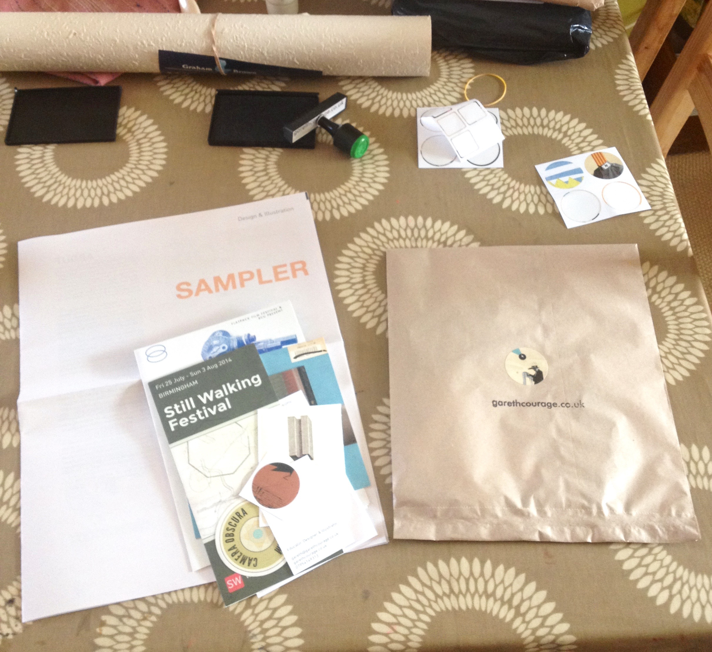 The bags under construction - this one has a risographed programme from Swipeside in it.