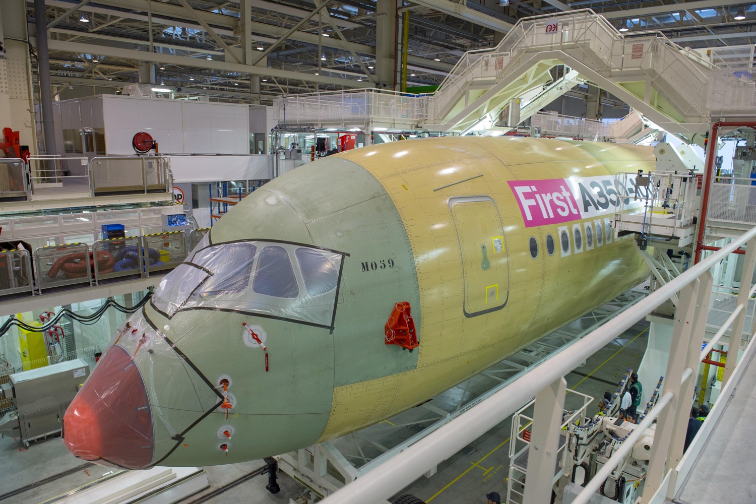 The first A350-1000 on the Final Assembly Line in Toulouse