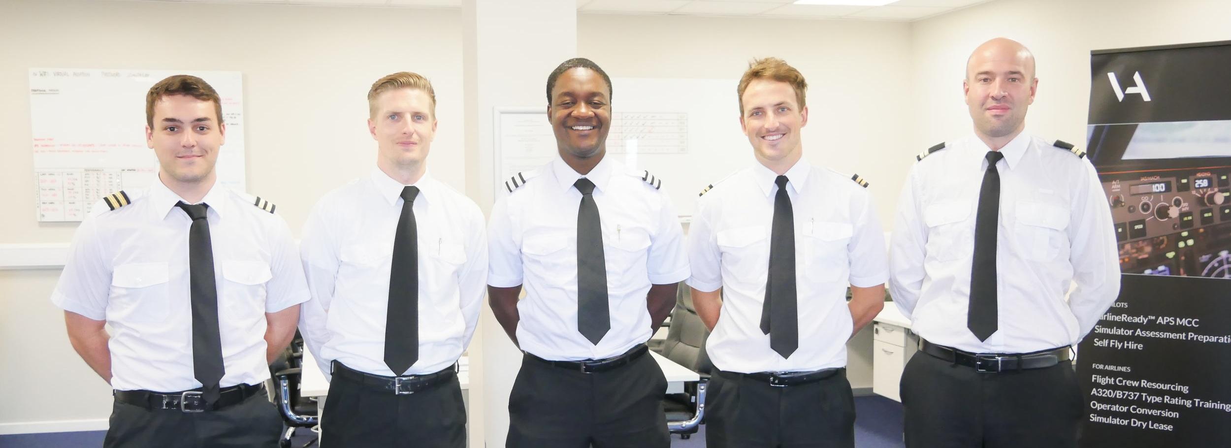 All graduates from Kudzi's APS MCC class, 1814, went on to employment soon after graduating. From left to right - Jesus (Iberia Airways), Raymond (Ryanair), Kudzi (Ryanair), Alex (Ryanair) and Kepa (TAROM).