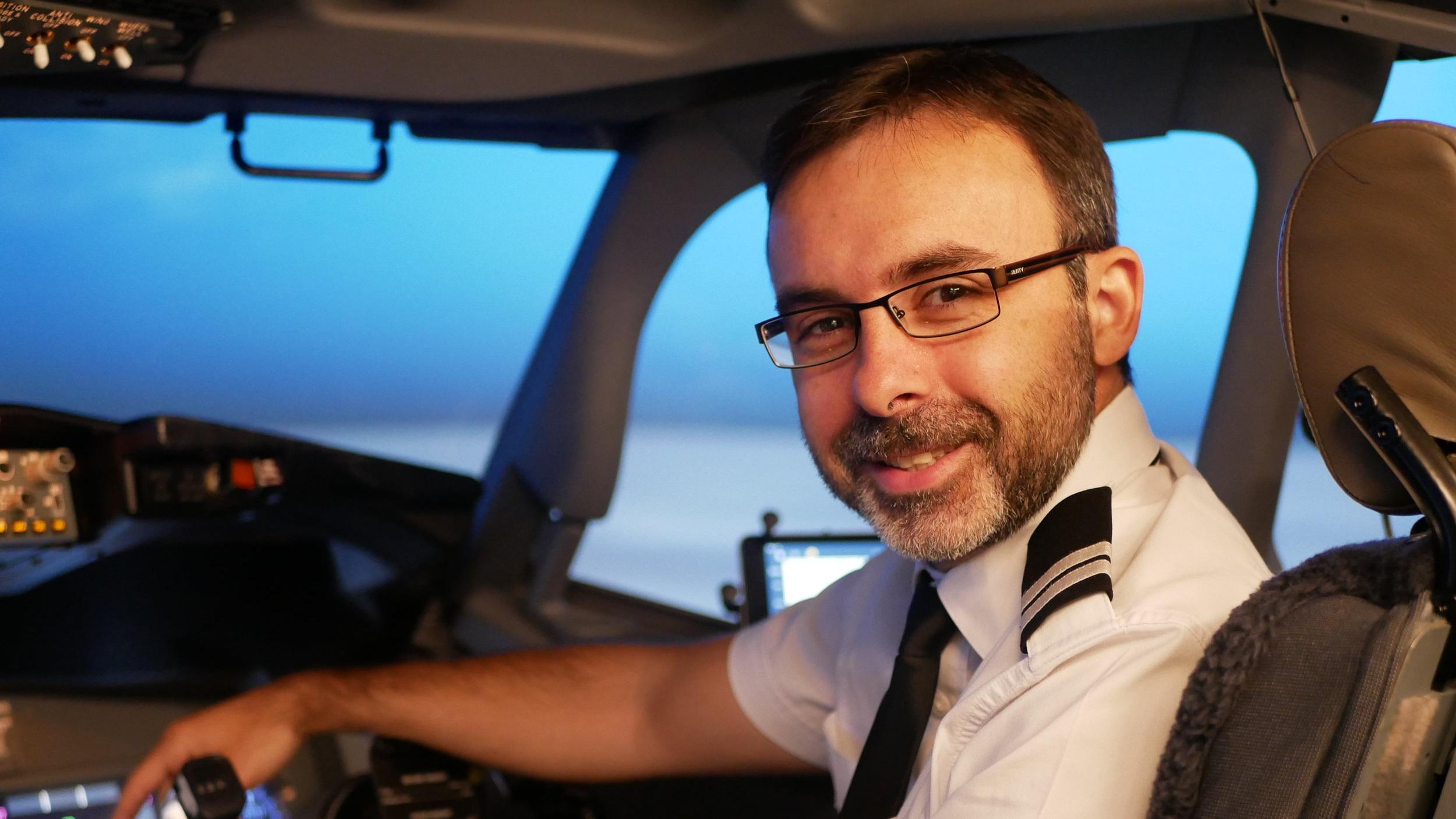Martin in VAs Boeing 737 simulator during his APS MCC training.