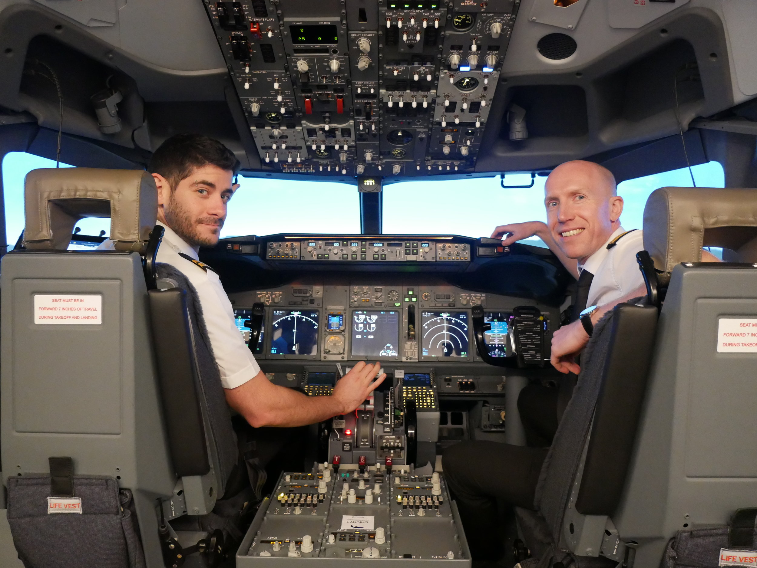 Adar (left) and Andrew (right) who now fly for Ryanair and Thomas Cook respectively.