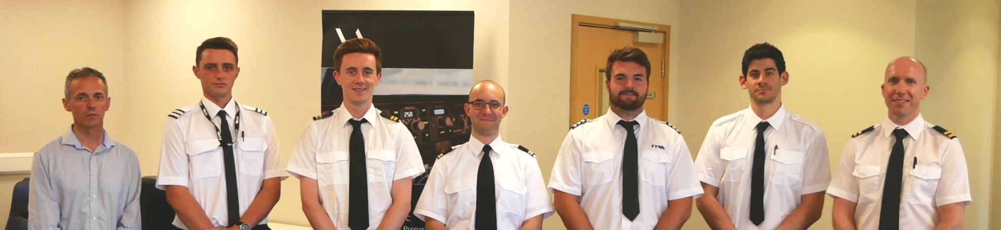 APS MCC class 1818 graduates Christophe, Jean, Will, Oscar, Ryan, Adar and Andrew who now fly for a range of airlines including Ryanair, Thomas Cook and Saxon Air.