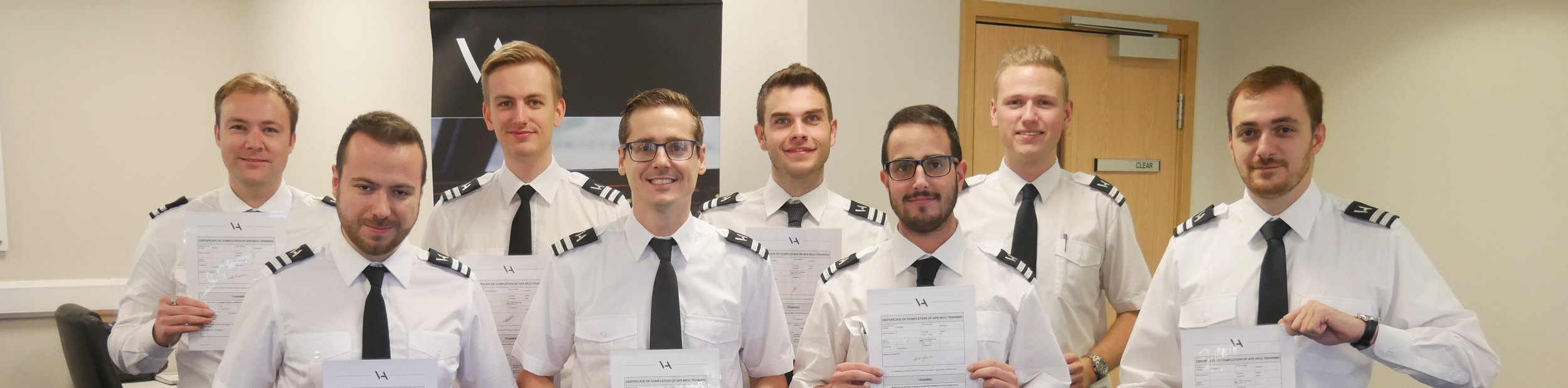 Francesco (second from left) and the rest of APS MCC class 1820. who among them now fly for a mix of Ryanair and Flybe.