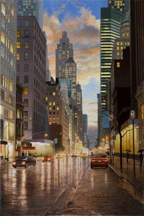 """Rain in New York City  36""""Hx24""""W"""