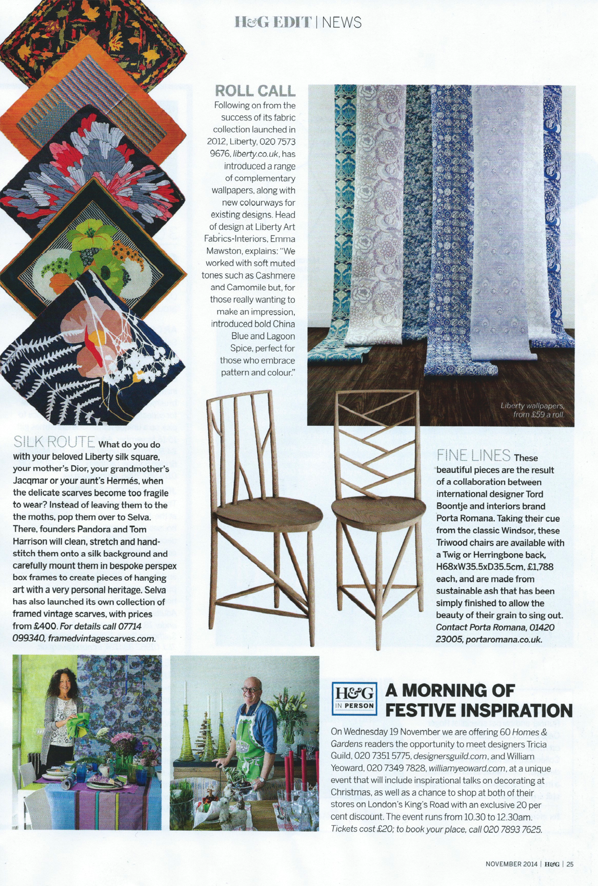 Homes and Garden Nov 2014 for SELVA London