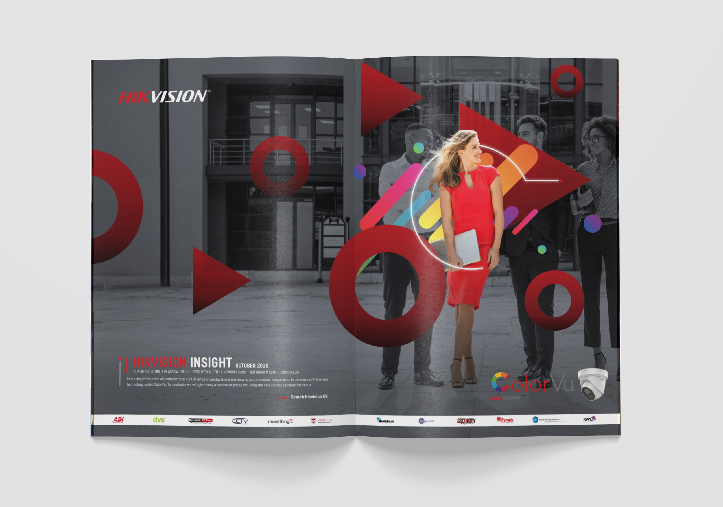 HIKVISION    - Full Visual Identity Rebrand of Hikvision UK -    Online Advertising, Print Advertising, Showroom Design, Office Artwork Design, Video Production, Motion Graphics      In the frame: Insight Roadshow Event/Software Feature Promotion Artwork -  A4 Double Spread Print Advertising   Further Materials from this Roadshow design concept: Demonstration Videos, Promo Video, Invite Video, Roll Up Banners, Event Stand Graphics, A4 Print, Web Banners, Wall Artwork, Email Signature