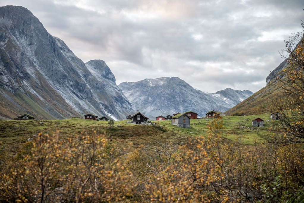 Cottage area near stryn mountainroad