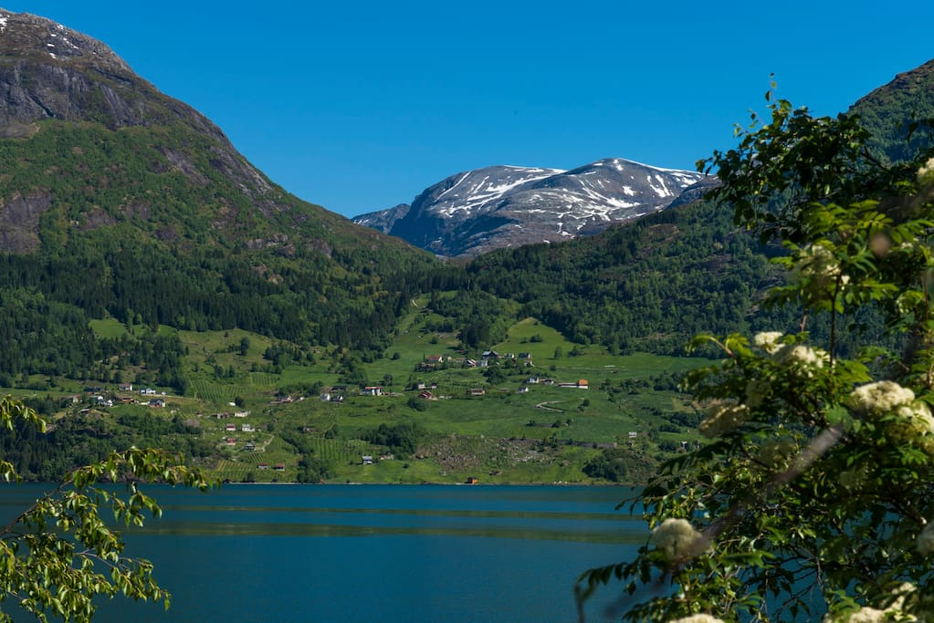 view towards Flo, picture taken from road 15 in Oppstryn