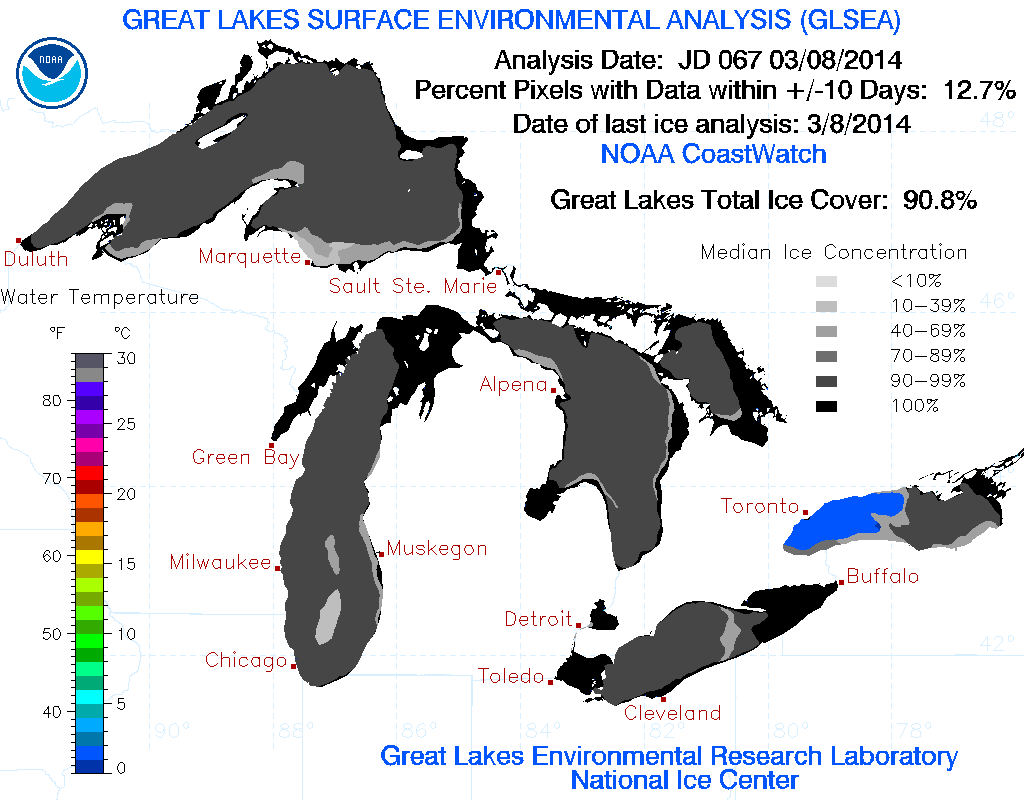 Great Lakes ice cover as of March 8th, 2014.(Credit: NOAA / Great Lakes Environmental Research Laboratory)