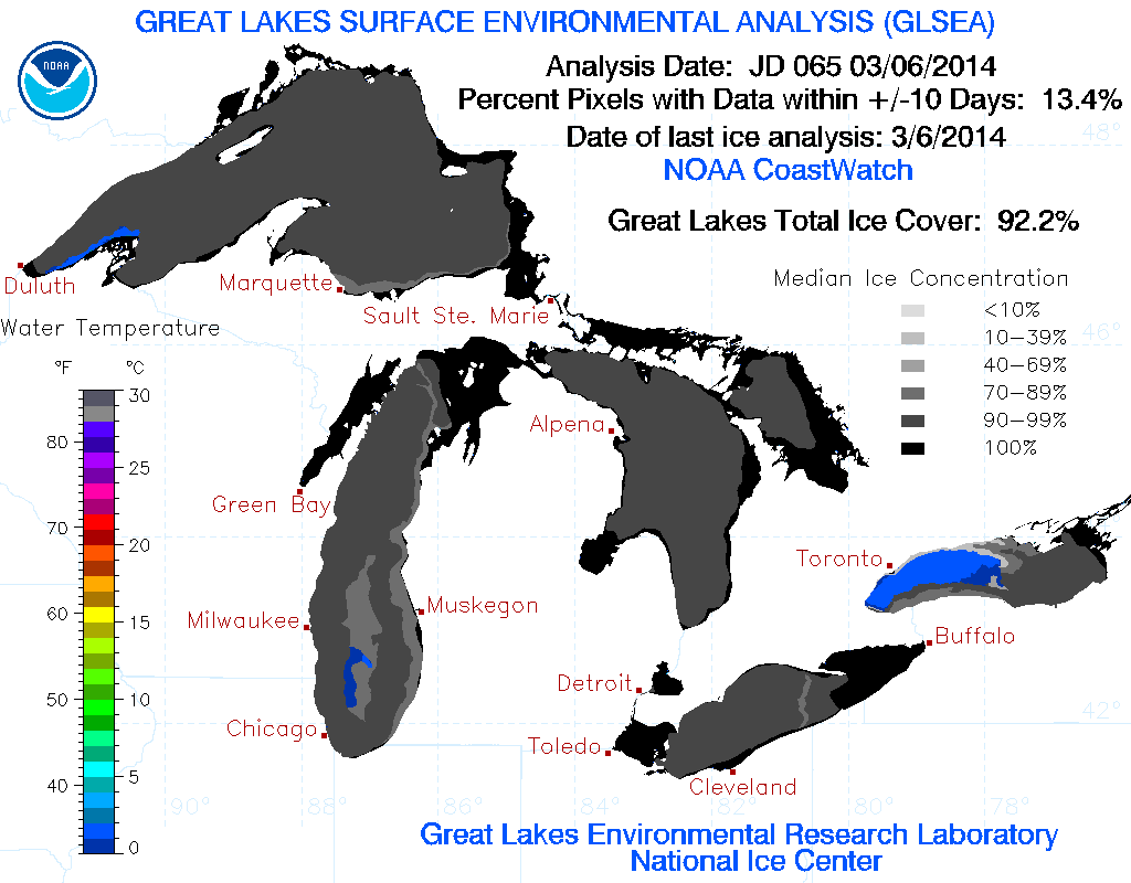 Great Lakes ice cover as of March 6th, 2014. (Credit: NOAA / Great Lakes Environmental Research Laboratory)