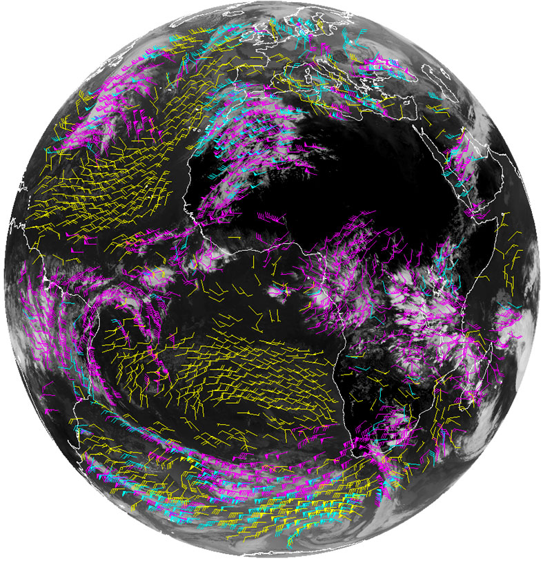Example of a satellite Derived Wind product. Image from GOES-R program.