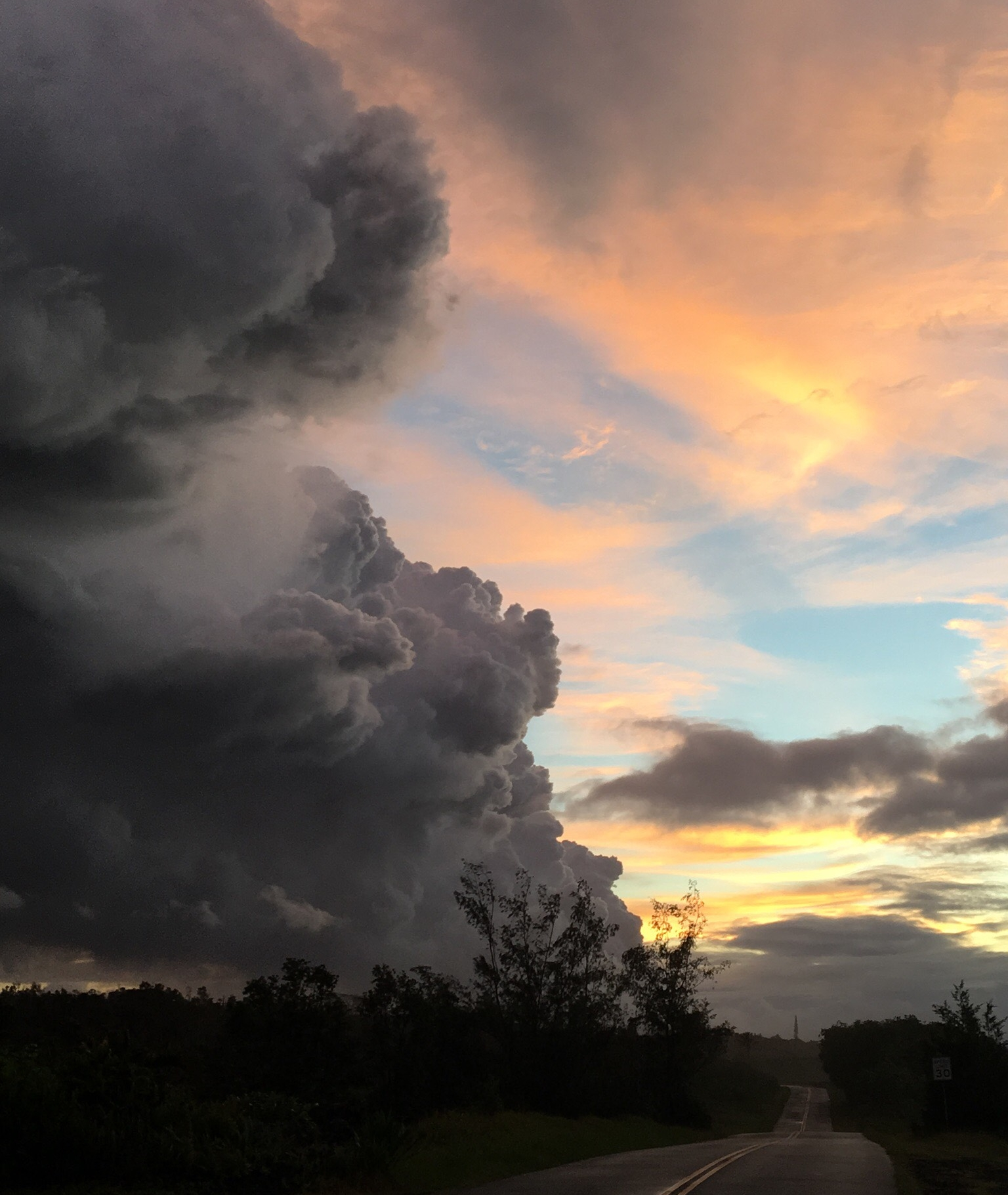 Pyrocumulus clouds seen toward Kilauea from Seaview Estates, about 4 miles away from the lava vent, on June 26, 2018. Credit: WCCO viewer Charlie Luke.