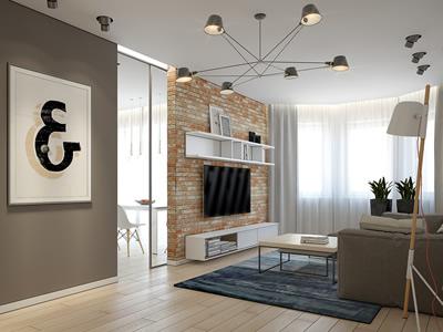 Проект 3-комнатной квартиры с объединенной гостиной