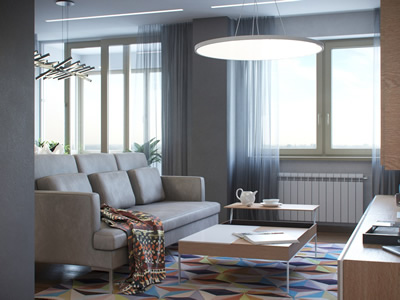 Дизайн трехкомнатной квартиры с объединенной гостиной и кухней