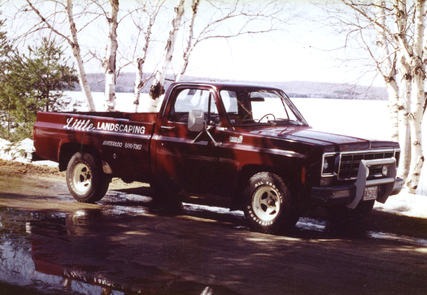 Dad's first truck circa 1980.  Trevor is a proud second generation Landscaper.