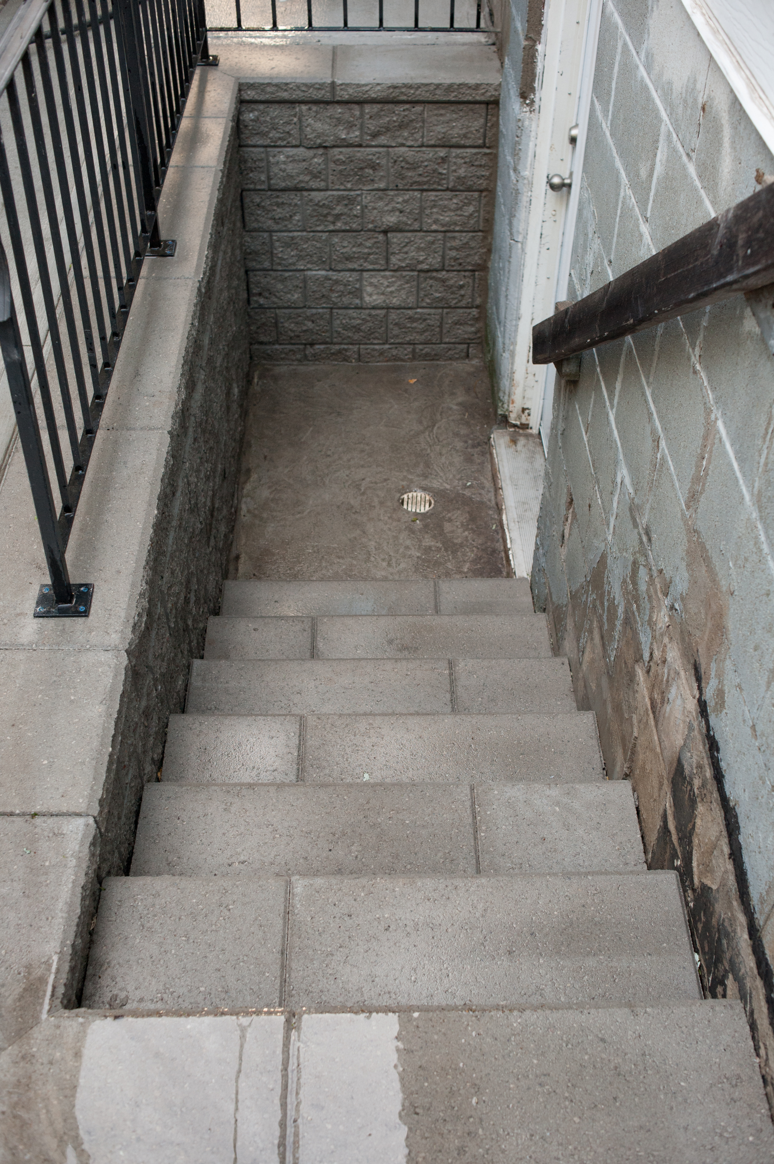 New (and much safer) steps to the basement using Unilock Pisa II retaining wall blocks.