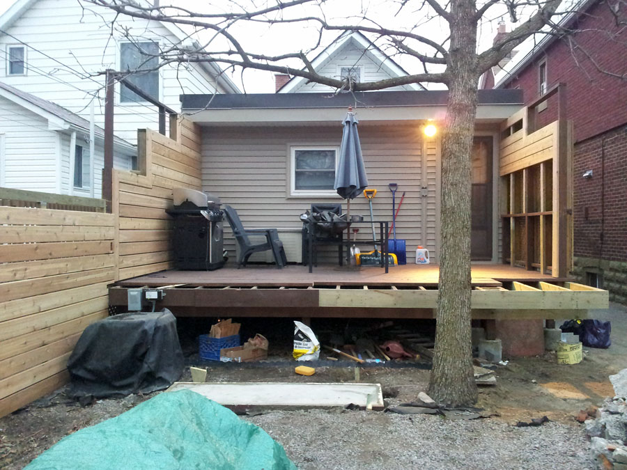 Partway through construction. We removed the steps, and squared off the deck.