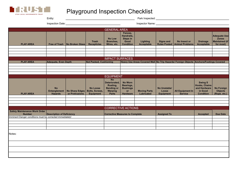Playground Inspection Checklist