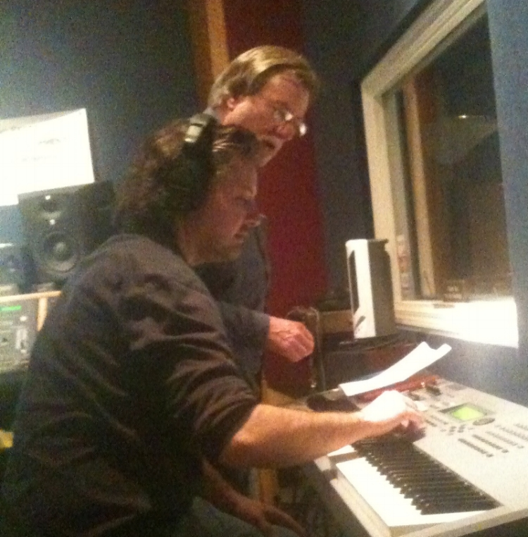 Marc Lawson & Eric Tunison during recording session at Groove Tunes Studios in 2011.