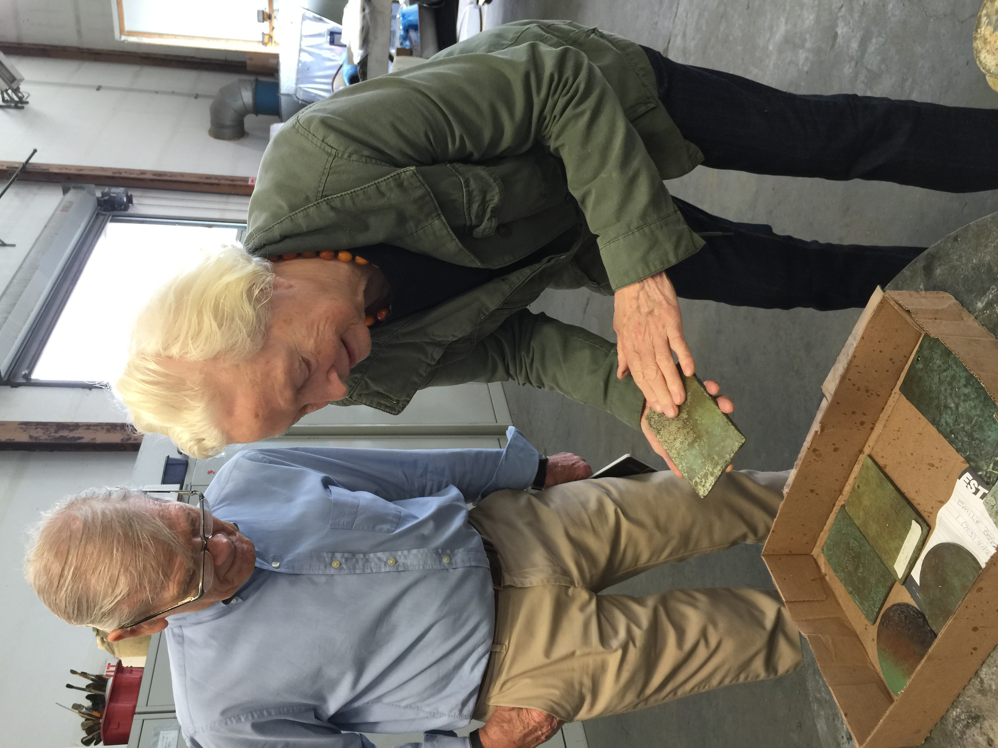 3. Here I stand with Mr. Polich, sampling and selecting different types of patina, an important step in the process of casting a work.
