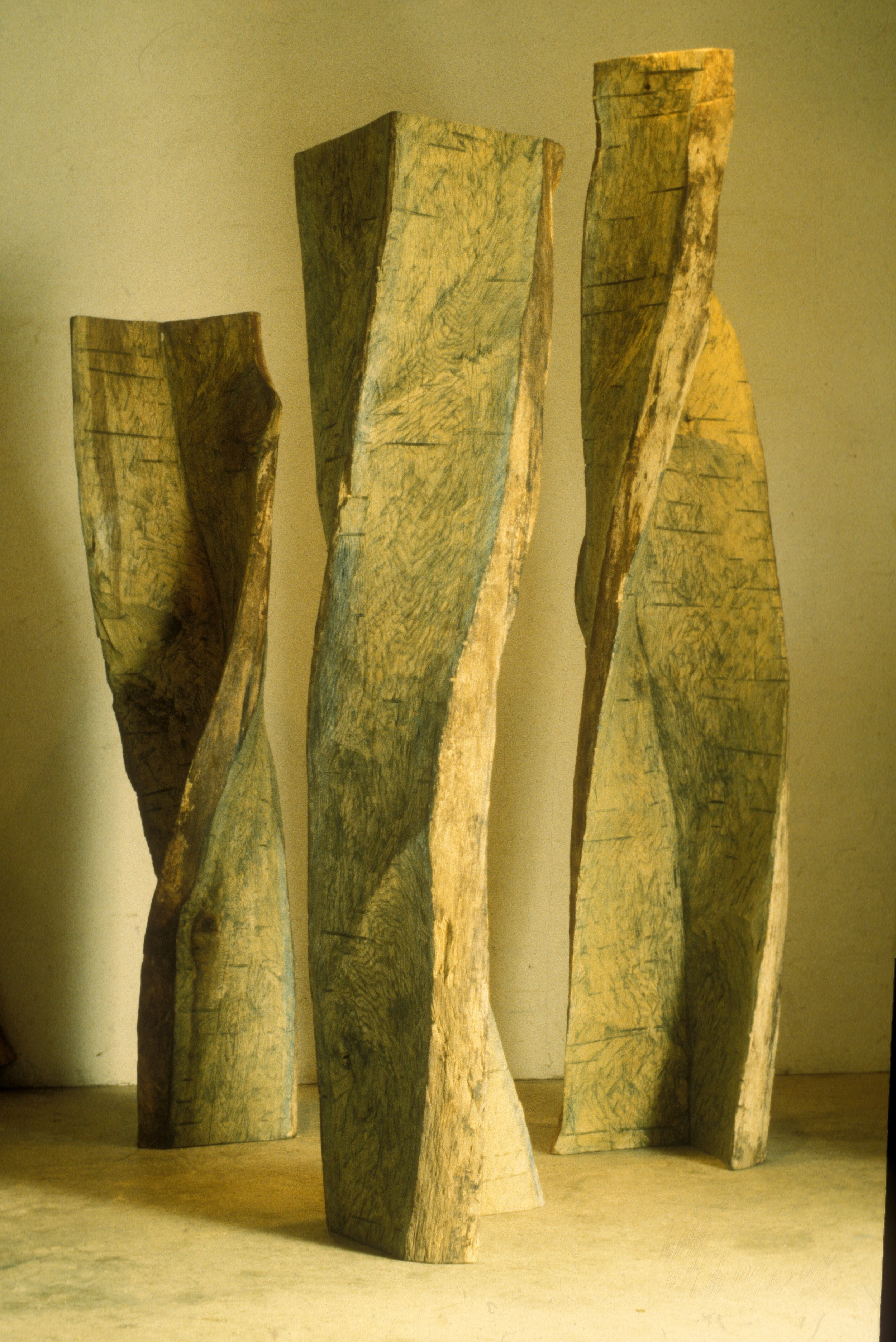 "White Oak Verticals,  1998, 12'3"" high, white oak will be one of the four installations shown at the exhibit."