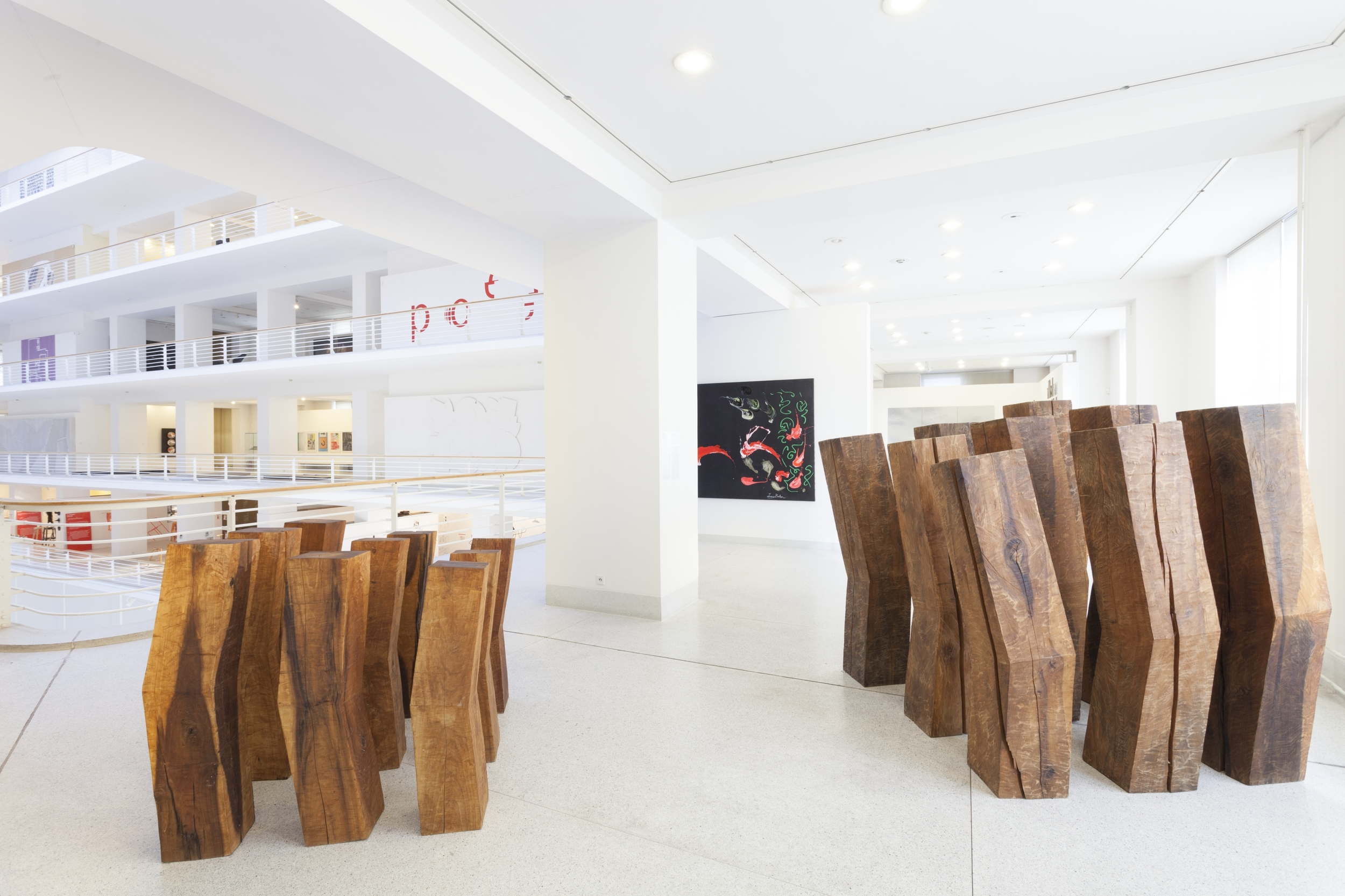 Broken Blocks II , left, and  Broken Blocks III , right, as they stand in the Veletrzni Palace in the National Gallery in Prague. Image courtesy of the National Gallery in Prague.