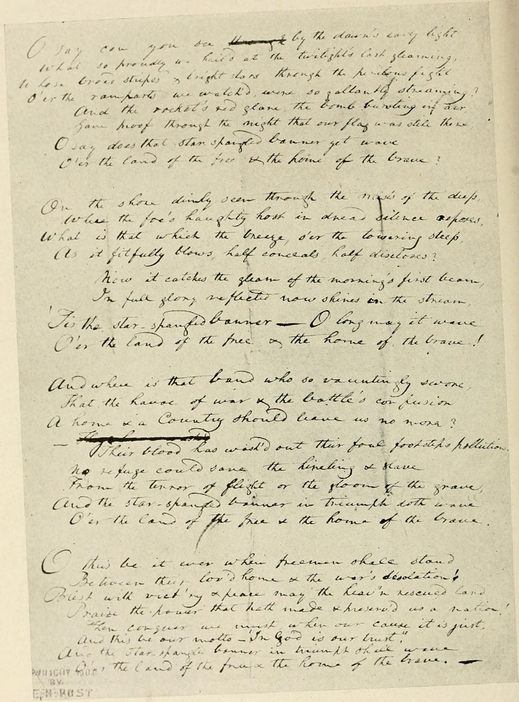 "Francis Scott Key's original manuscript copy of his ""Star-Spangled Banner"" poem. It is now on display at the Maryland Historical Society."