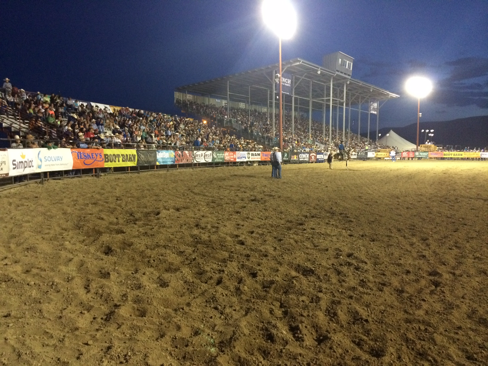 I figured I should throw in a picture of the crowd at the first performance.  By contestants, this is the largest outdoor rodeo in the country and the majority of the spectators are family and friends.  What a great chance we have to minister to the whole family!