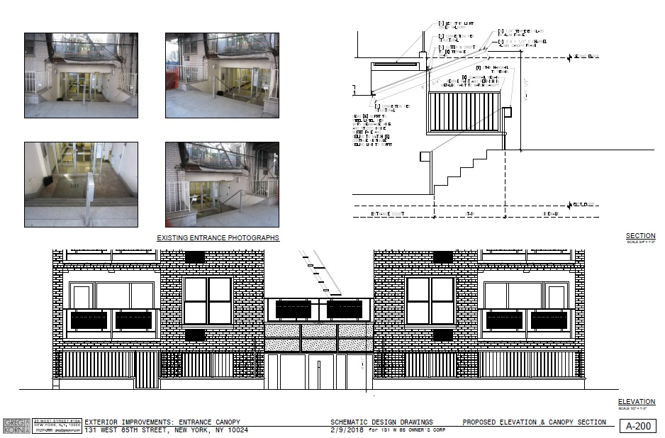Entrance Canopy Schematic Design Elevations and Sectionsa