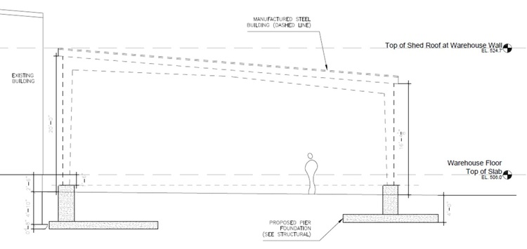 Steel Building Addition Schematic Section