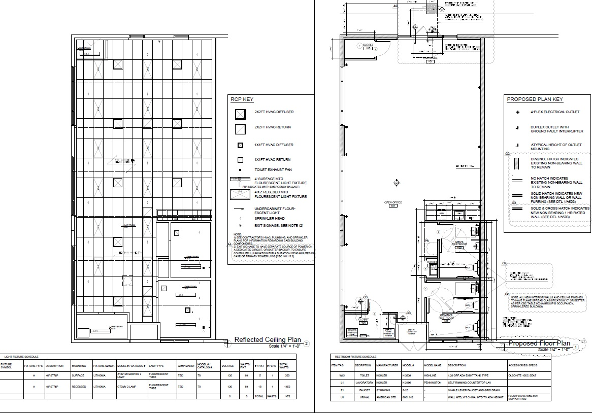 Industrial office tenant improvement floor plan and reflected ceiling plan.jpg