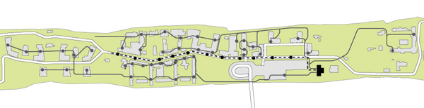 Map of Roosevelt Island pneumatic network and proposed Main Street expansion ClosedLoops, 2014