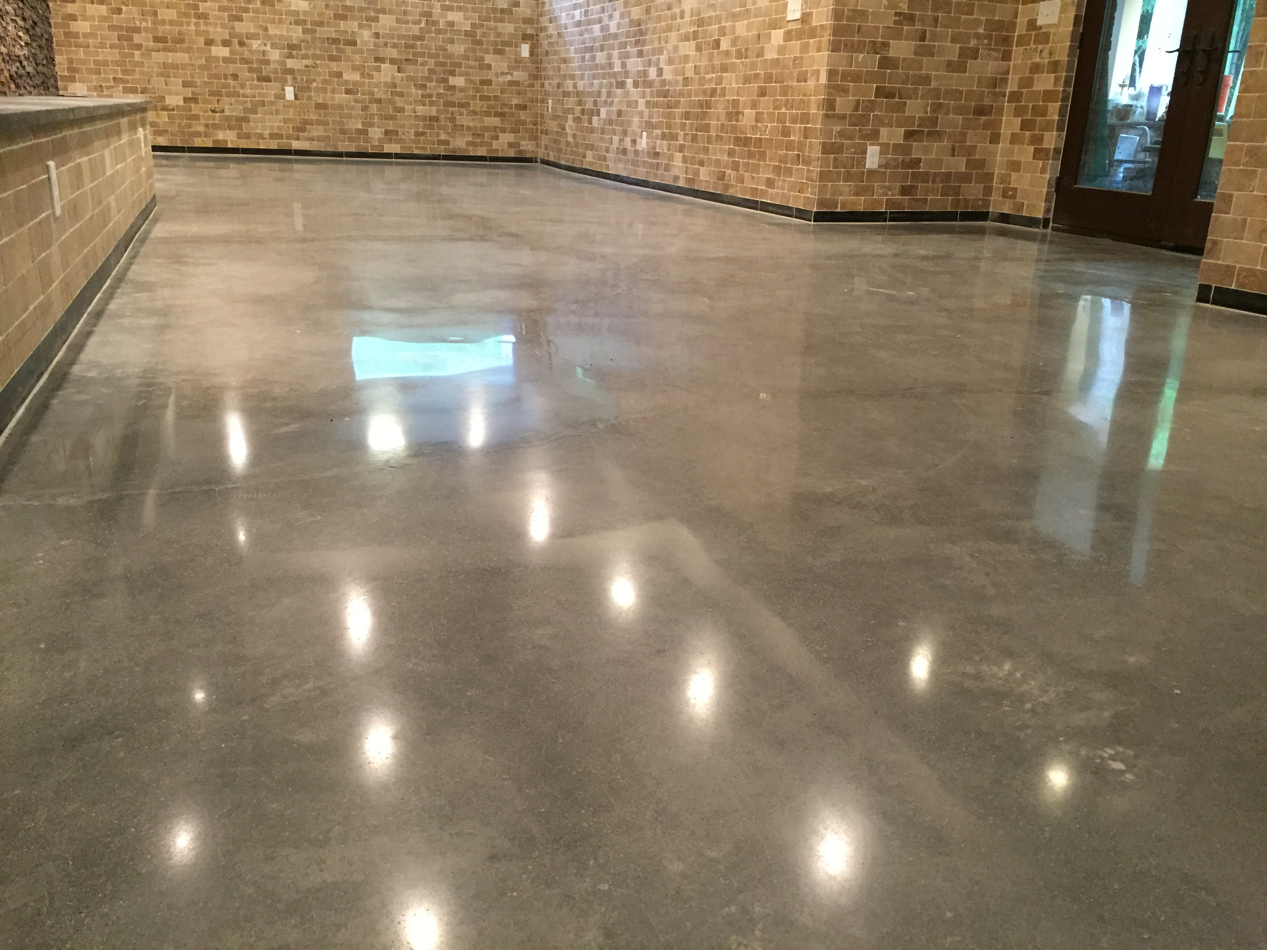 Basement with Finished Walls and Polished Concrete