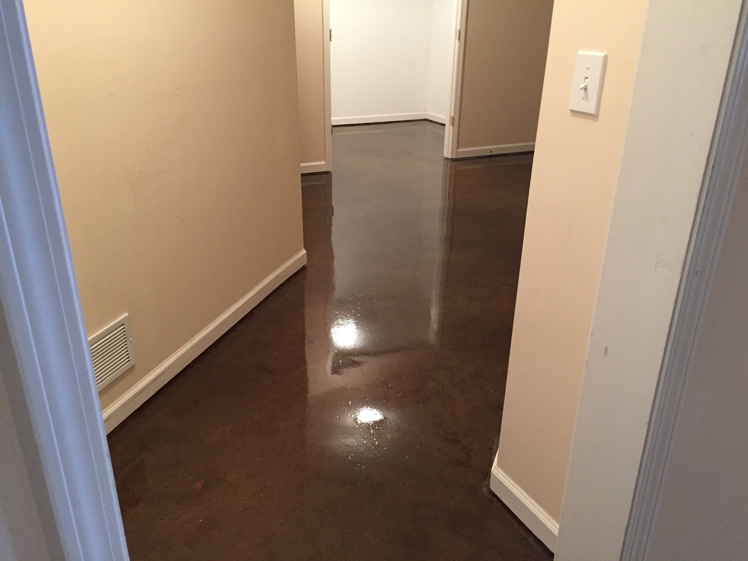 Repaired Basement with Epoxy Floor Coating