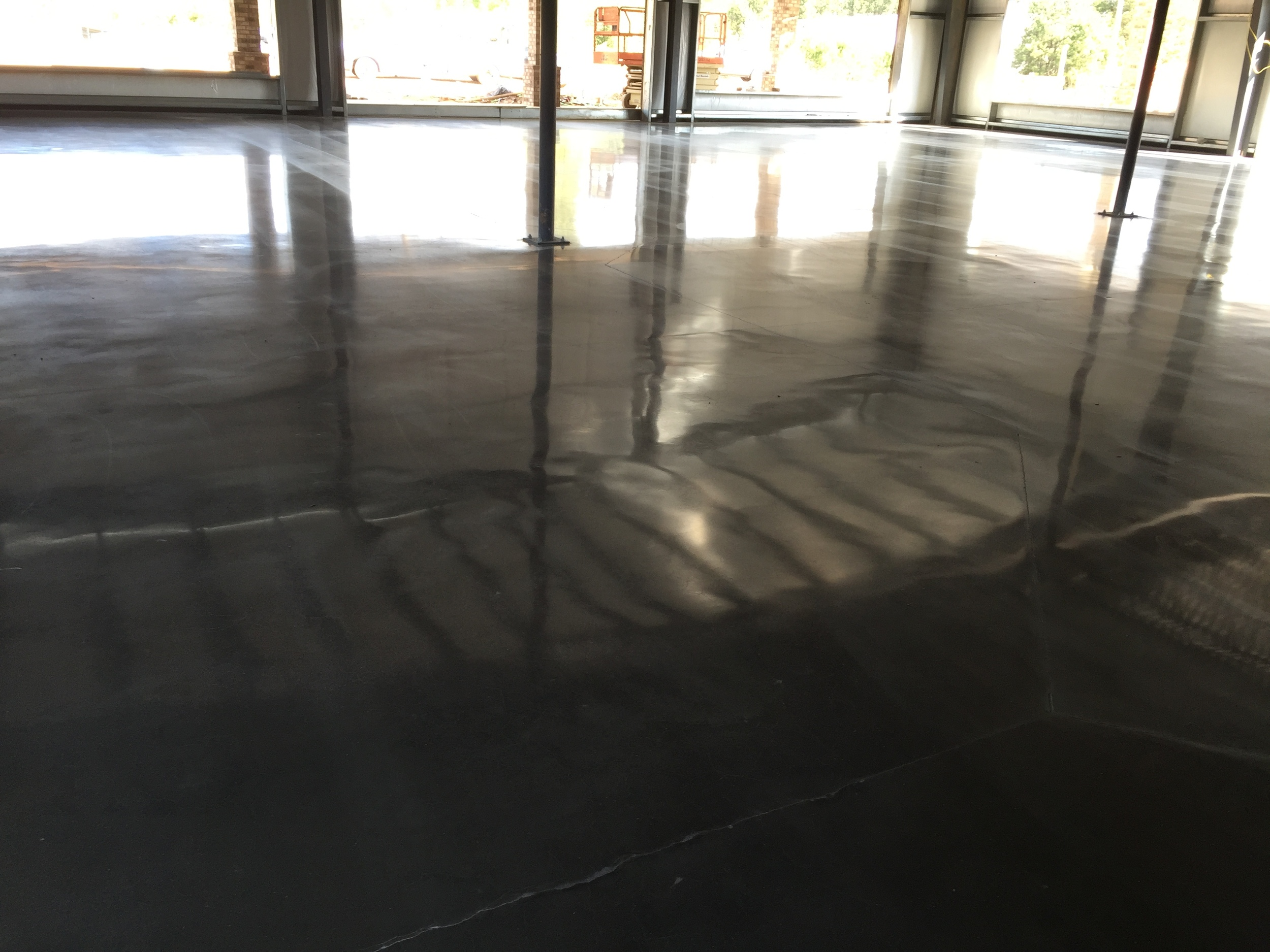 Steel Beam Reflection on Polished Floor