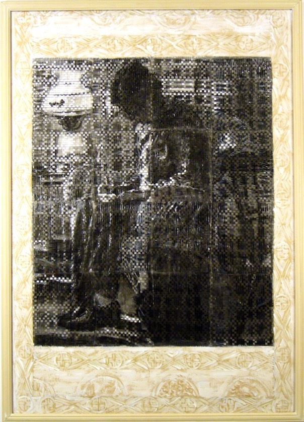 "Gail Skudera,  The Letter, 2004, Woven mixed media, 53"" x 37"" $5ooo."