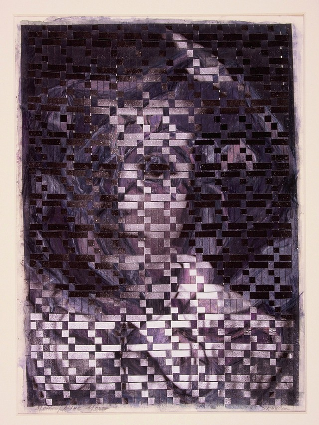 "Gail Skudera,  Mother Rose Blue Moon , 1995, Woven mixed media, 15.5"" x 11"", $1,200."