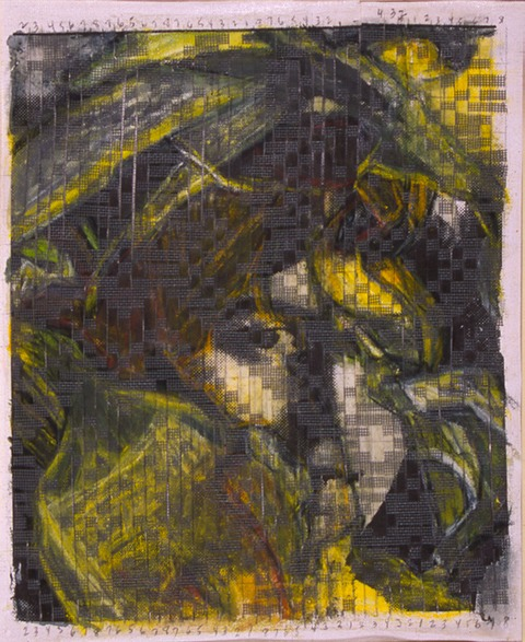 "Gail Skudera,  Sylvia No. 6 , 1997, Woven mixed media, 18"" x 14"", $1,200."