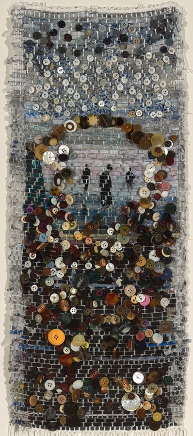 "Gail Skudera,  Aperture , 2014, Woven mixed media, 30"" x 12"" on stretched fabric, $1,800."